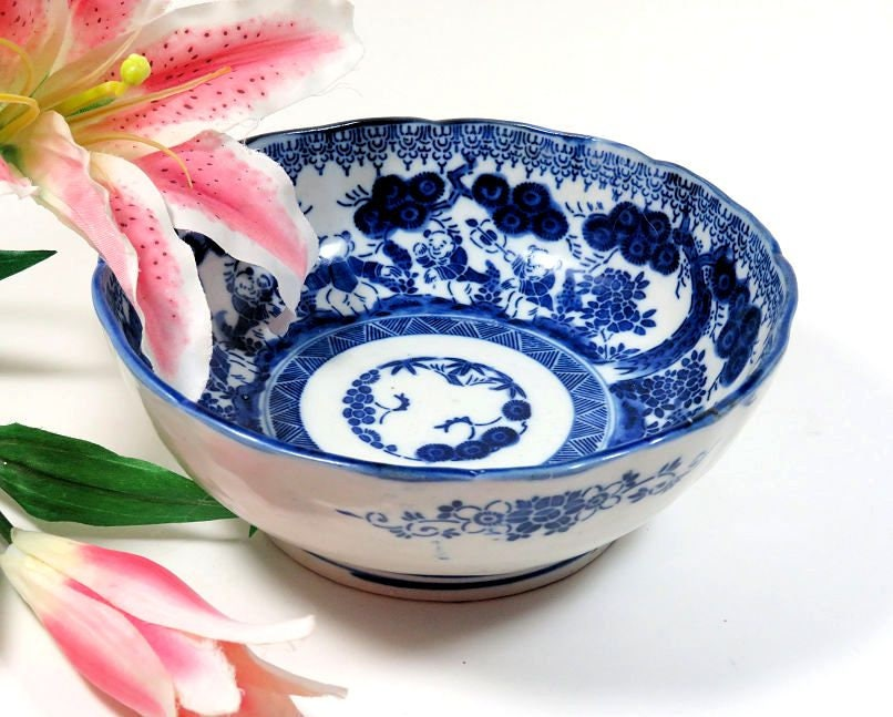 Antique,Meiji,Period,Japanese,Blue,and,White,Bowl,Boys,Playing,antique japanese bowl, meiji period bowl, blue and white japanese bowl