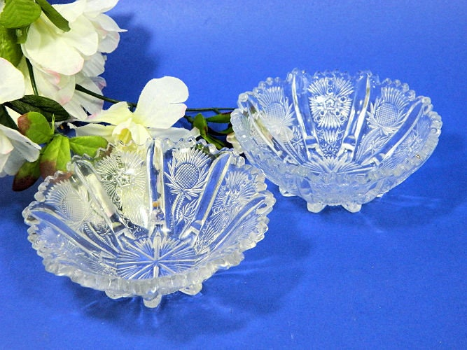 Two,Antique,EAPG,Panelled,Thistle,Small,Berry,Bowls,eapg panelled thistle bowls, antique glass berry bowls, antique pattern glass bowls