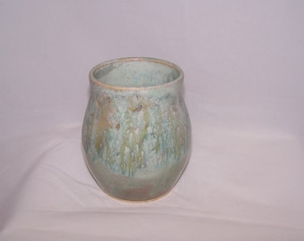 Cup / vase glazed in layers of blues, greens and beige, unique gift, vase, ceramic cup, ceramic vase