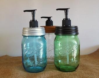 mason jar soap pump, farmhouse kitchen decor, bathroom decor, lotion pump, green pint mason jar,