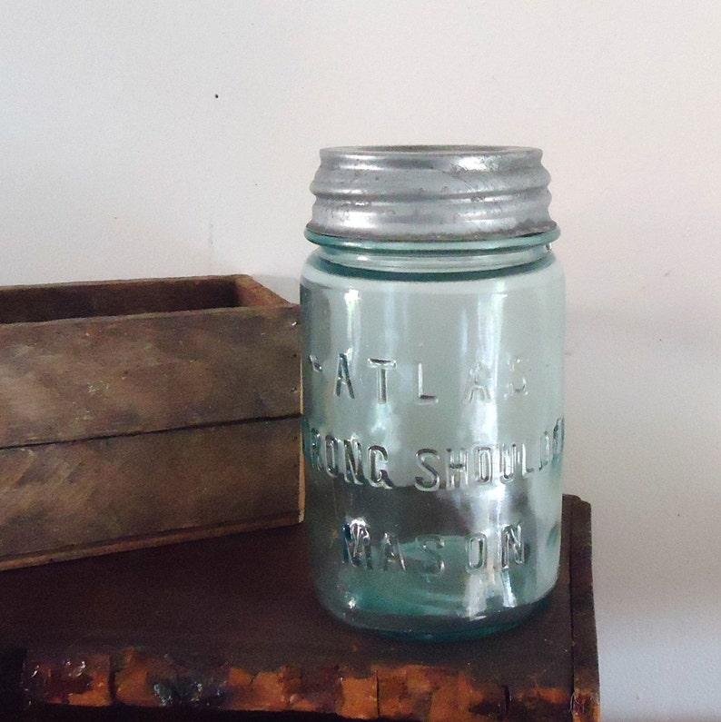 Atlas Blue Glass Pint Mason Jar with zinc Lid, vintage mason jar, aqua  blue, kitchen storage,