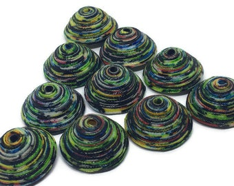 Fabric Beads Textile Beads Fiber Beads Black White Yellow Green Blue Multicolored Beads Pyramid 3D Shaped Triangle Handcrafted Fiber Beads