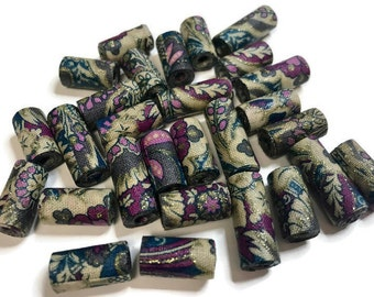Tube Beads Textile Beads Fabric Beads Fiber Beads Tan Teal Purple Multicolored Artisan Beads Handcrafted Tubular Shaped Unique Focal Beads