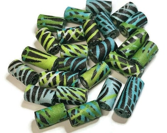 Tube Beads Textile Beads Fabric Beads Fiber Beads Greens and Blues Multicolored Artisan Beads Handcrafted Tubular Shaped Unique Focal Beads