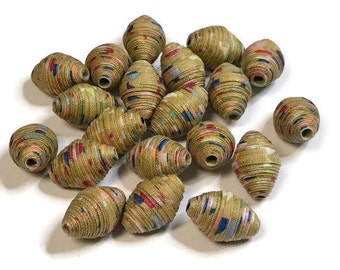 Fabric Beads Textile Beads Fiber Beads Tan Speckled Multicolored Beads Handmade Beads Diamond Bicone Shaped Beads Unique Fabric Beads 2cm
