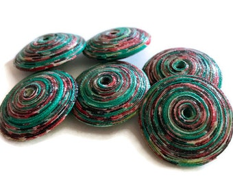 Fabric Beads Saucer Beads Textile Beads Fiber Beads Speckled Multicolored Bead Unique Beads Pinwheel Beads Artisan Focal Bead Handmade Beads