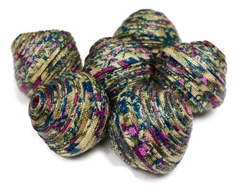 Fabric Beads Textile Beads Fiber Beads Large Chunky Beads Purple Teal Cream MultiColored Beads Handmade Diamond Double Bicone Unique Beads
