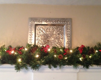 christmas garland christmas mantle garland red berries pine cones staircase garland fireplace swag