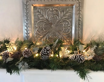 christmas mantle garland white pine cone garland christmas garland fireplace mantle garland flocked pine garland silver berry