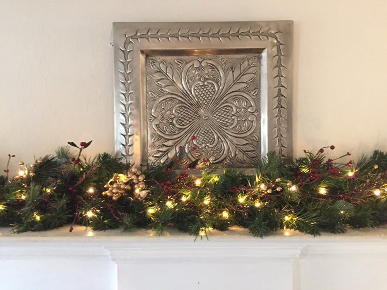 Christmas Mantle Garland Burgundy Gold Berries Mantel Etsy