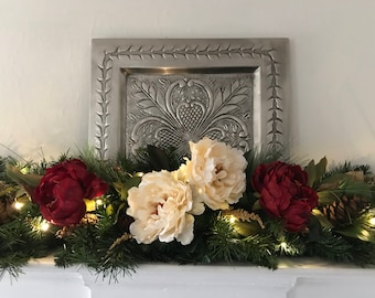 Christmas Swag for Mantle, Centerpiece Red and Cream Peonies, Christmas Mantle Swag, Table Centerpiece, Pine Centerpiece