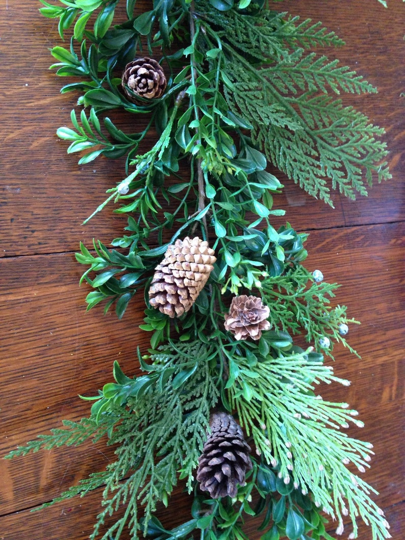 Mantle Garland Boxwood Pine Cone Mantle Garland Winter Garland Christmas Garland Table Runner