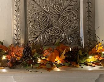 Fall Mantle Garland, Autumn Decor, Autumn Garland, Gord Garland, Pumpkin Garland, Fireplace Swag,Harvest Decoration