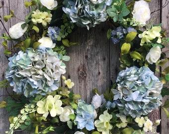 Summer Wreath, Shabby Chic Wreath, Farmhouse Decor, Front Door Decor, Spring Wreath, Blue Hydrangea Wreath, Hydrangea Wreath