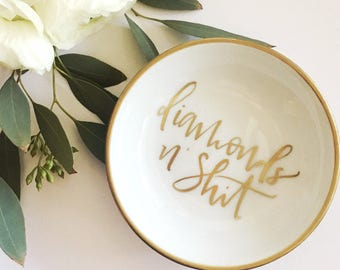 Diamonds N' Shit Personalized Ring Dish, Jewelry Dish, Trinket Dish, Wedding Ring Dish