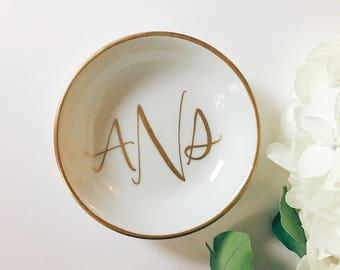 Monogram Ring Dish, Jewelry Dish, Trinket Dish, Wedding Ring Dish