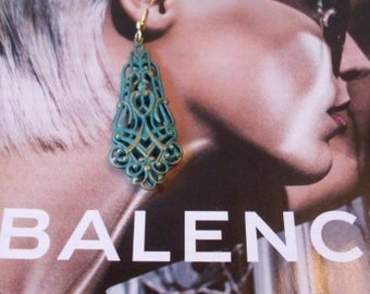 Long Dangle Handpainted Verdigris Earrings  Beaconhillcollect Jewelry