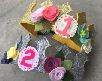 Felt flower birthday crown