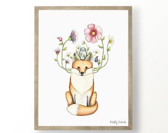 Floral Fox Watercolor Nursery Print - Printable Woodland Wall Art