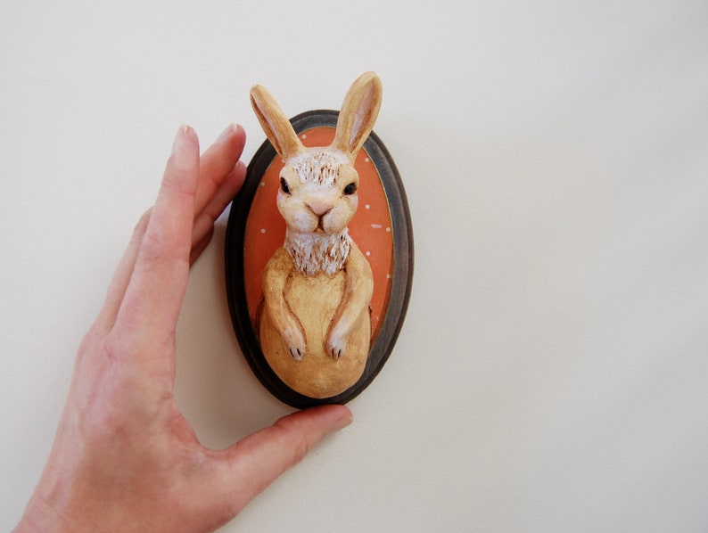 OOAK Bunny Sculpture Wall Art  Faux Taxidermy Rabbit image 0