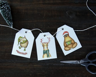 DIY Christmas Gift Tags Instant Download   PRINTABLE Owl, Reindeer, Sloth Gift Tags   by Kristy Jarvis