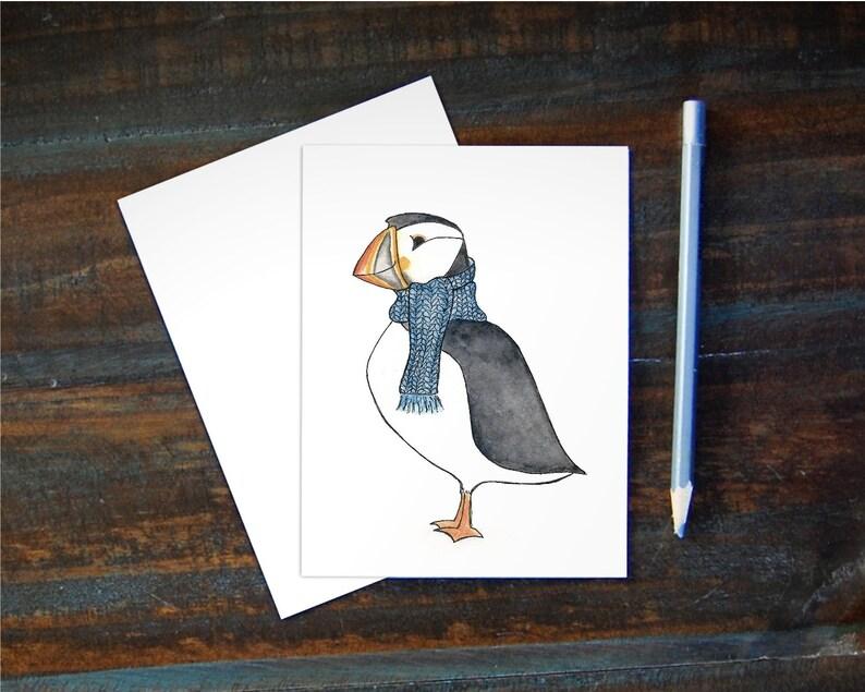 Watercolor Puffin Notecard  Bird Greeting Card  Blank Inside image 0