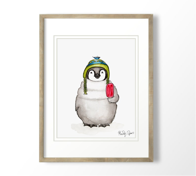 Baby Penguin Watercolor Art Print  Arctic Animals Nursery Art image 0