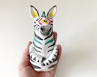 Zebra figurine - Hand-sculpted clay animal - ready to ship