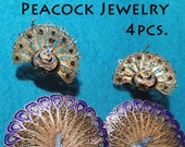 Vintage ENAMEL PEACOCK JEWELRY