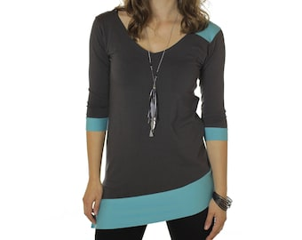 Stretch top with 3/4 sleeves, grey and turquoise asymetrical tunic