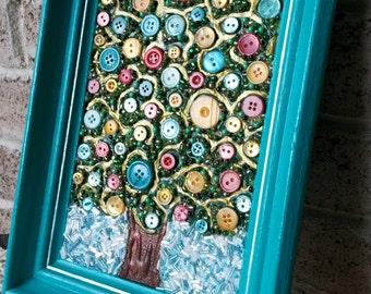 Tree Of Life Button Bead Mixed Media Wall Art