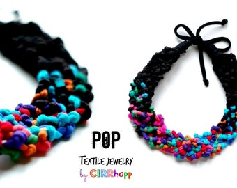 POP necklace - black/multicolor/Upcycled/knot/eco-friendly/antiallergic/babyfriendly/cirrhopp