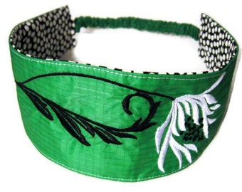 Reversible Headband Recycled Paraglider Parachute Green Floral Embroidery