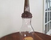 Veedol Oil Bottle 1 Liquid Quart Glass Metal Gas Pump Advertising Sign, Garage Decor, Motor Oil Advertising