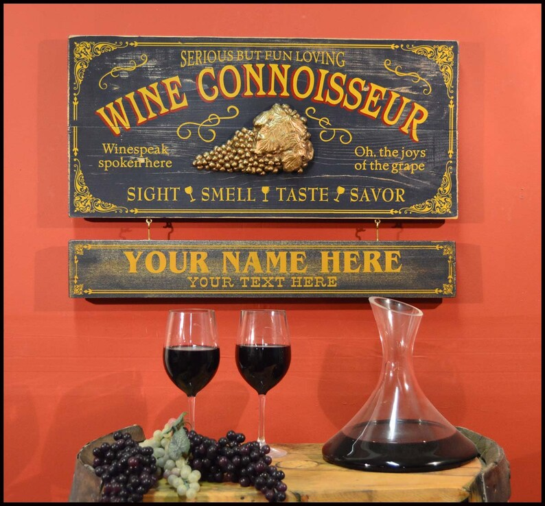 Vintage Style Wood Sign Personalized Wine Connoisseur 23 75 X 11