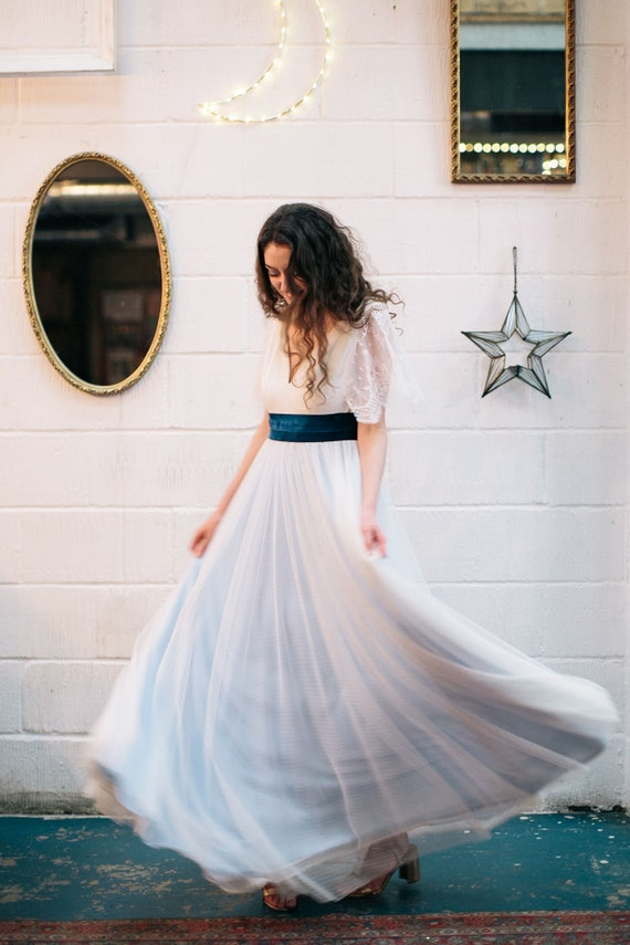 41e7bbad1b19 GOLDIE White and blue wedding dress in crepe tulle and French