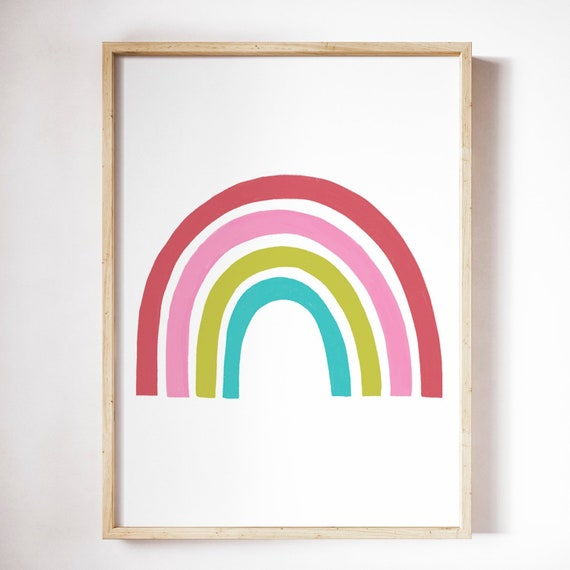 4 Personalised Rainbow Alphabet Number Modern Prints Pictures Nursery Wall Art