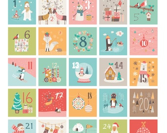 Printable Advent Calendar, 24 mini envelopes, Christmas Countdown Advent Calendar, Instant Download, Cute Advent Calendar for children
