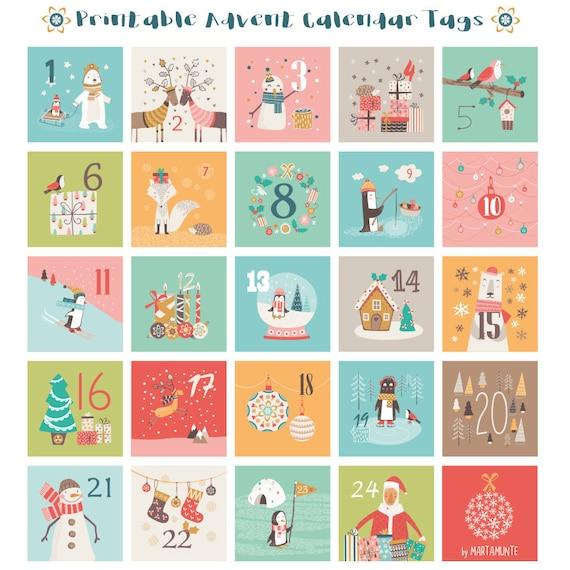 printable advent calendar tag advent calendar gift tags etsy. Black Bedroom Furniture Sets. Home Design Ideas