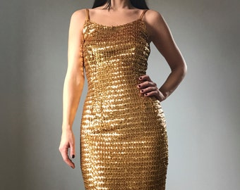 Vintage 50s Gold Sequin Wiggle Dress