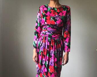 Silk Floral Dress Etsy