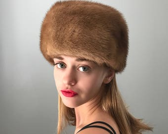 Vintage 40s Tan Fur Cossack Hat 57100b4f1b5