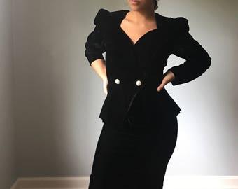 Vintage 80s Velvet Skirt Suit w/ Oversized Bow