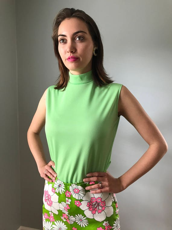 Vintage 60s Mod Lime Green Sleeveless Mock Neck