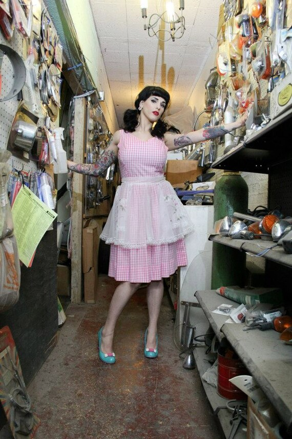 Vintage 50s Pink Gingham Fit & Flare Dress - image 7