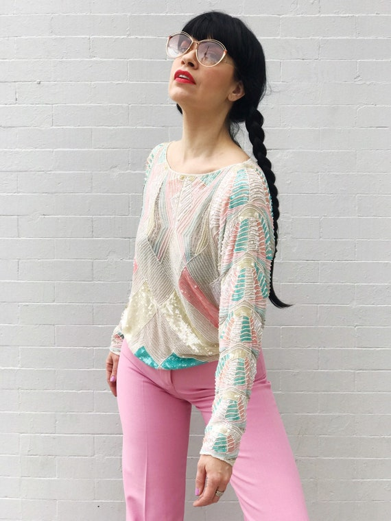 Vintage Pastel Sequin Top
