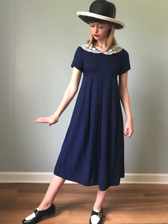Vintage Style Navy Babydoll Dress