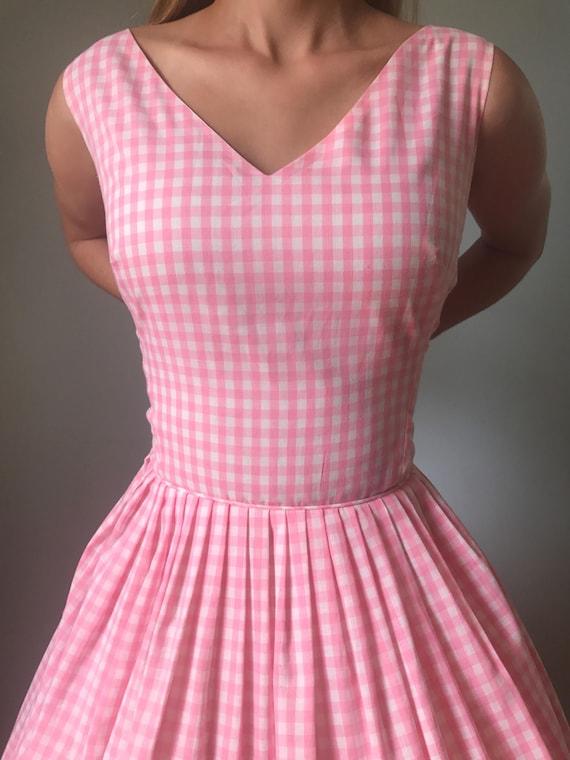 Vintage 50s Pink Gingham Fit & Flare Dress - image 4