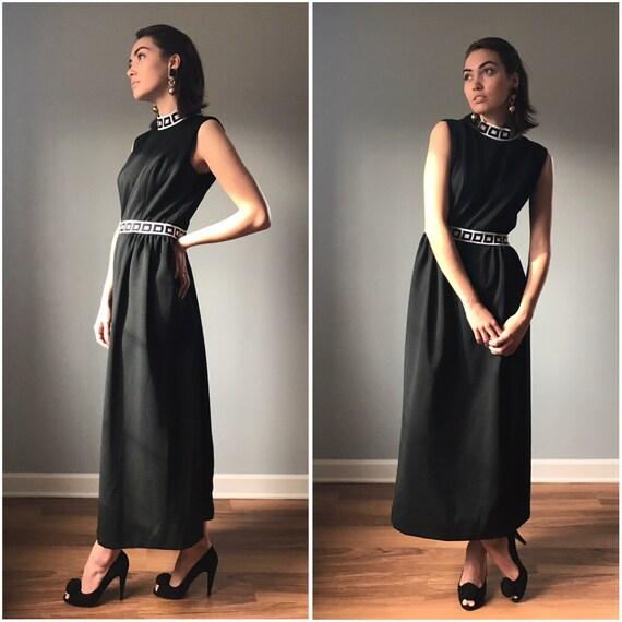 Vintage Mod Key Print Maxi Dress