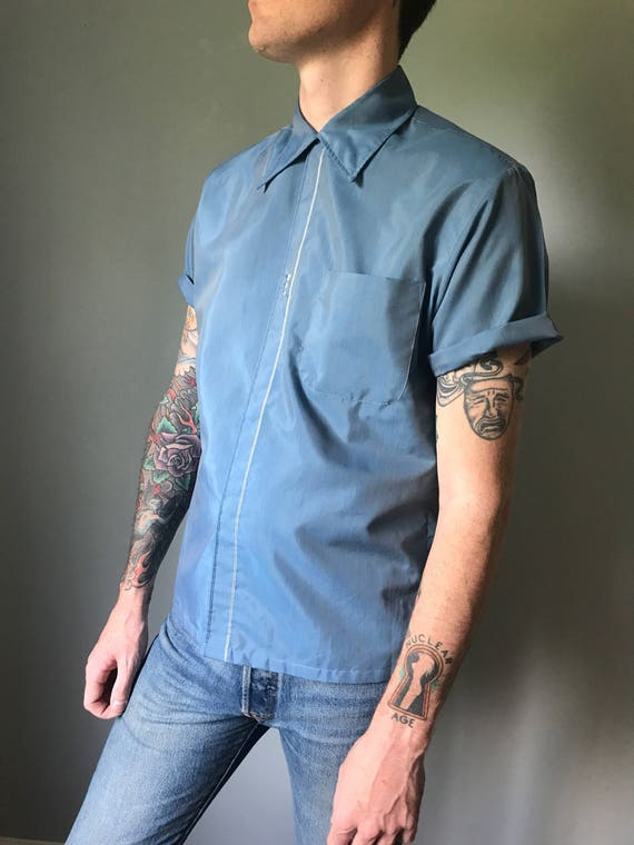 Vintage 50s Blue Loop Collar Button Down